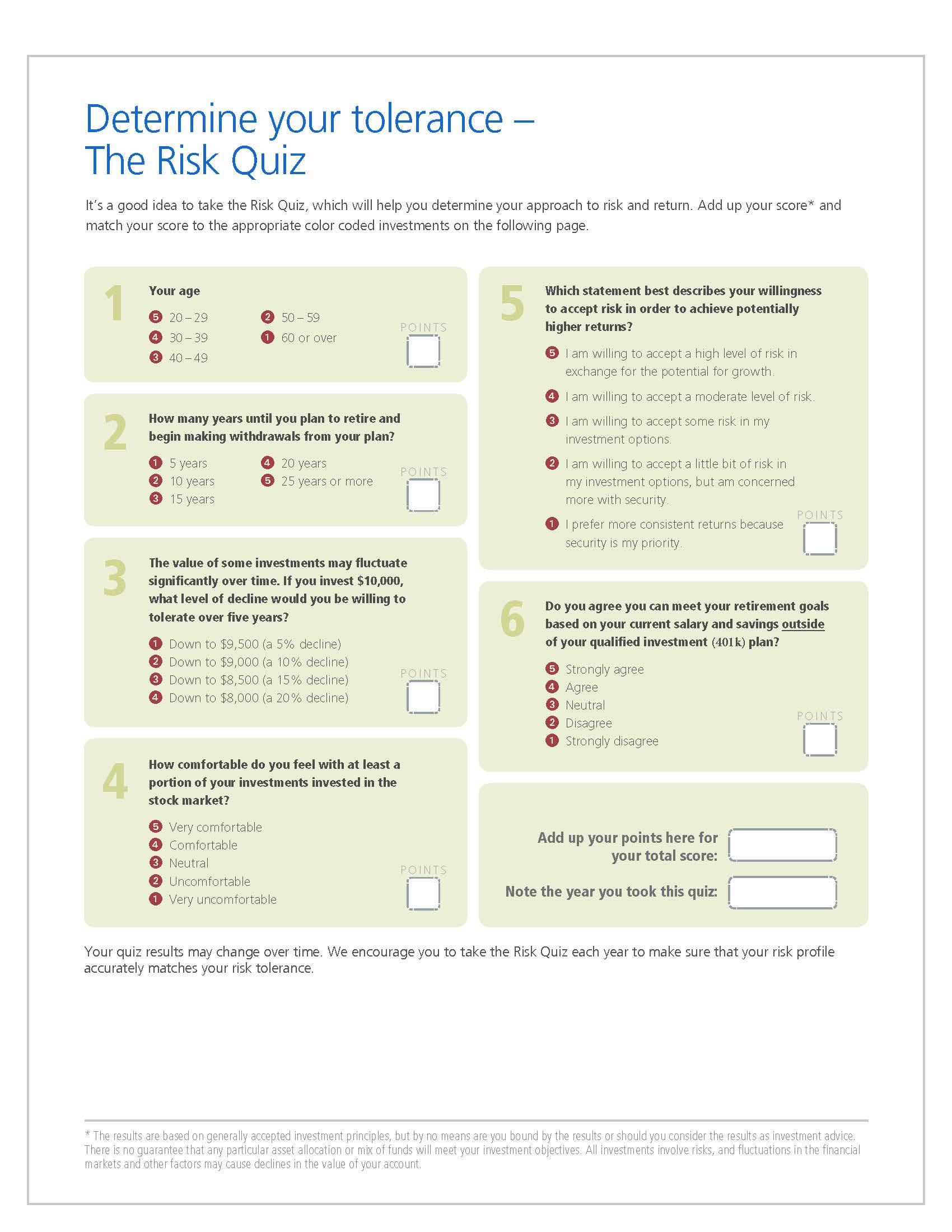 401k Risk Tolerance Quiz